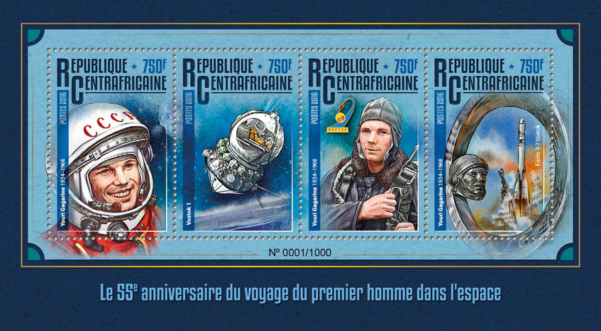 Space - Issue of Central African republic postage stamps