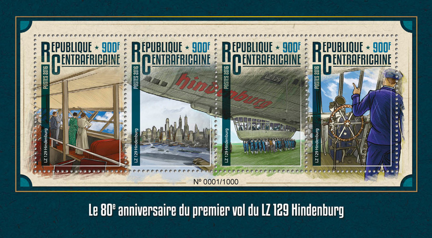 Hindenburg LZ 129 - Issue of Central African republic postage stamps