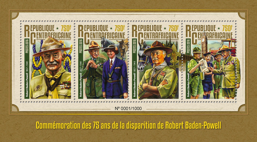 Robert Baden-Powell - Issue of Central African republic postage stamps