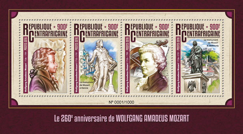 Wolfgang Amadeus Mozart - Issue of Central African republic postage stamps