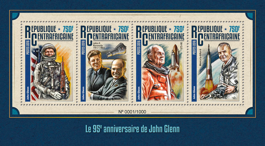 John Glenn - Issue of Central African republic postage stamps