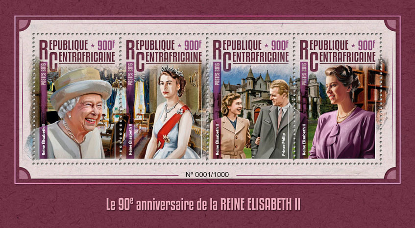 Queen Elisabeth II - Issue of Central African republic postage stamps
