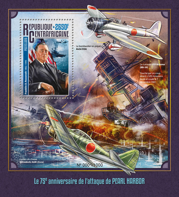 Pearl Harbour - Issue of Central African republic postage stamps