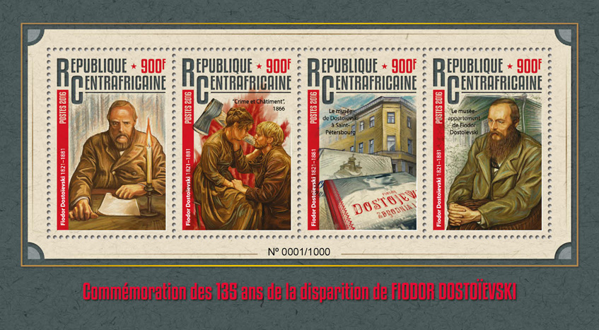 Fyodor Dostoyevsky - Issue of Central African republic postage stamps