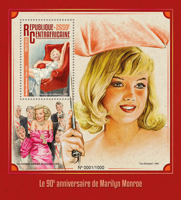 Marilyn Monroe - Issue of Central African republic postage stamps