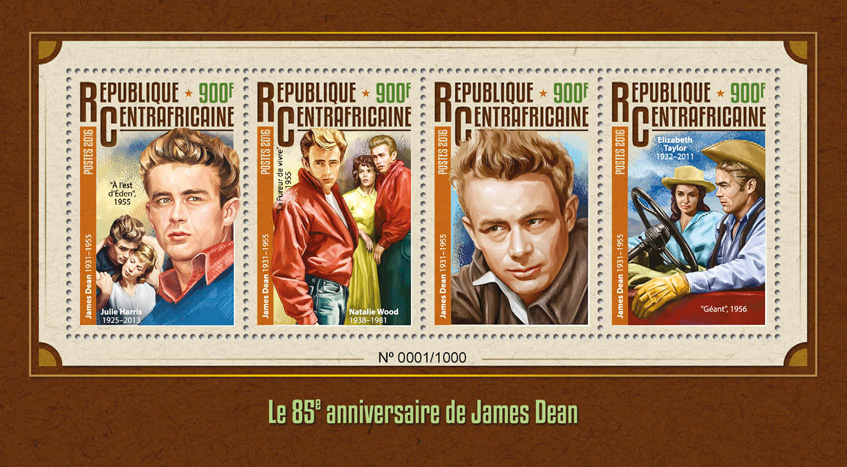 James Dean - Issue of Central African republic postage stamps