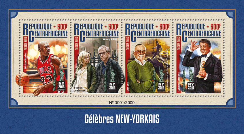 New York celebrities - Issue of Central African republic postage stamps