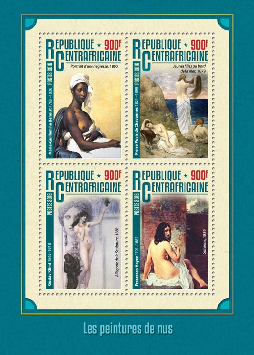 Nude paintings - Issue of Central African republic postage stamps