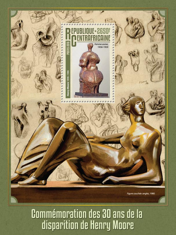 Henry Moore - Issue of Central African republic postage stamps