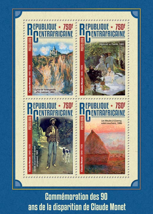 Claude Monet - Issue of Central African republic postage stamps