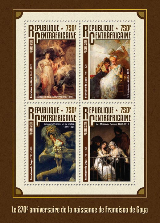 Francisco de Goya - Issue of Central African republic postage stamps