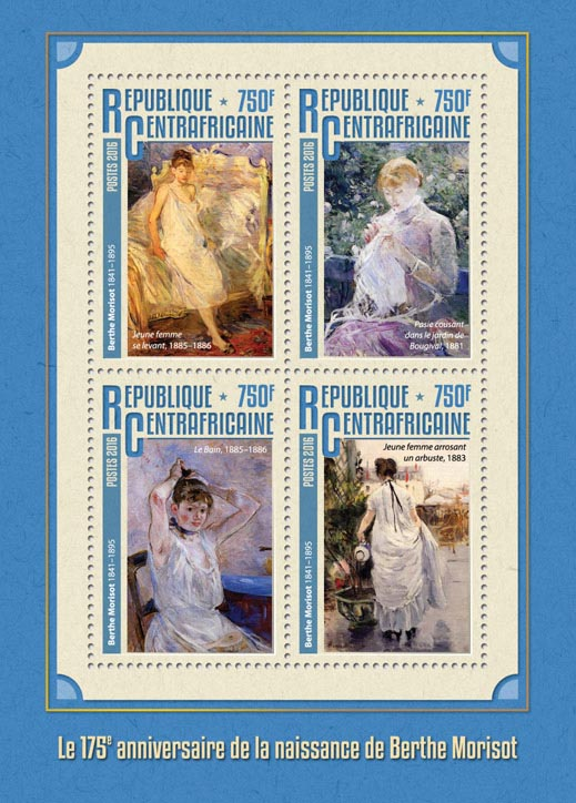 Berthe Morisot - Issue of Central African republic postage stamps