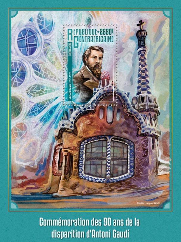 Antoni Gaudi - Issue of Central African republic postage stamps