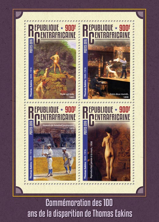 Thomas Eakins - Issue of Central African republic postage stamps