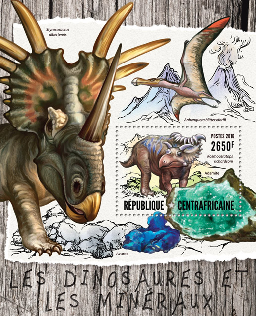 Dinosaurs and minerals - Issue of Central African republic postage stamps