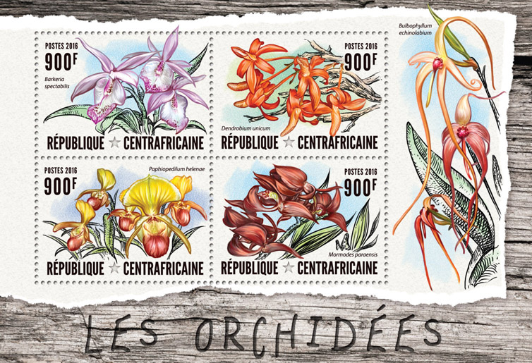 Orchids - Issue of Central African republic postage stamps