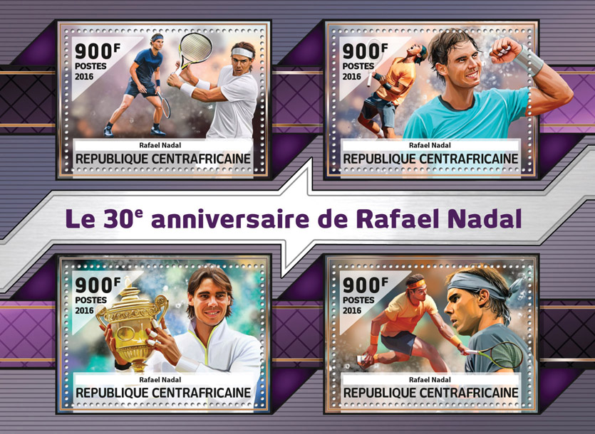 Rafael Nadal - Issue of Central African republic postage stamps