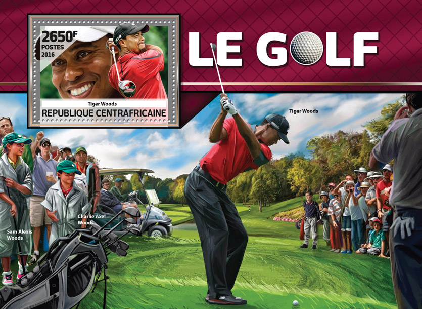 Golf - Issue of Central African republic postage stamps