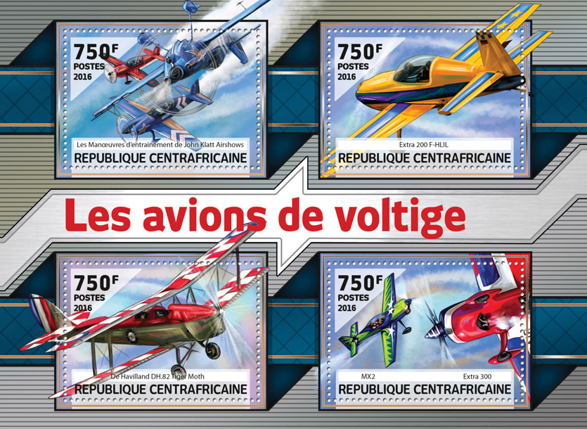 Aircraft - Issue of Central African republic postage stamps
