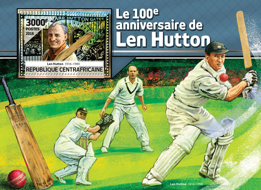 Len Hutton - Issue of Central African republic postage stamps
