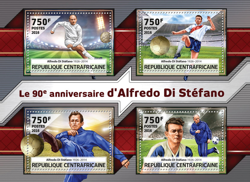 Alfredo Di Stefano - Issue of Central African republic postage stamps