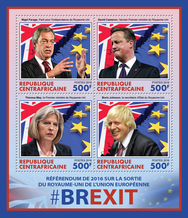 BREXIT - Issue of Central African republic postage stamps
