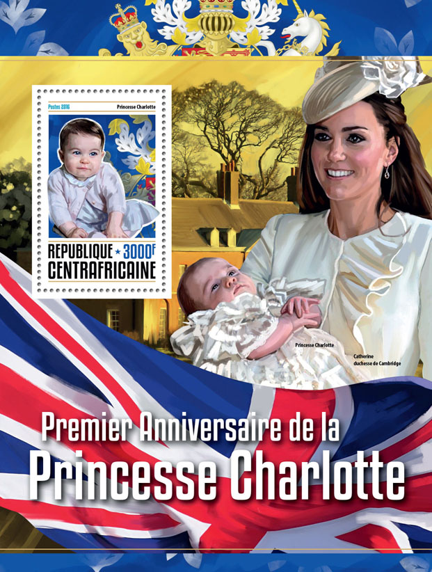 Princess Charlotte - Issue of Central African republic postage stamps