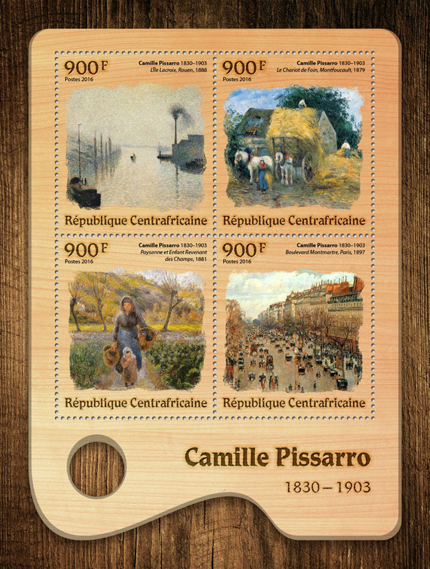 Camille Pissarro - Issue of Central African republic postage stamps