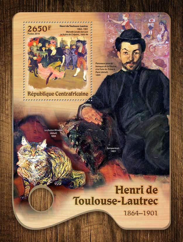 Henri de Toulouse-Lautrec - Issue of Central African republic postage stamps