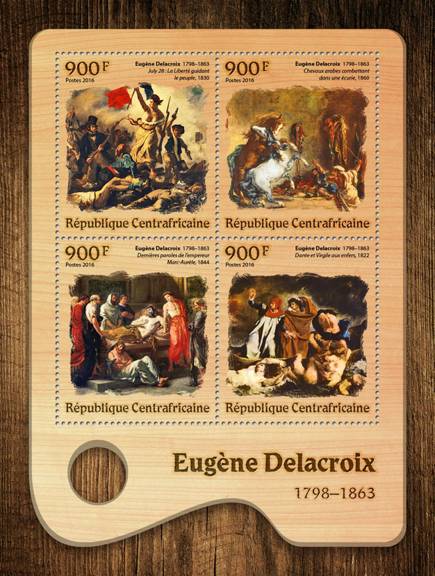 Eugène Delacroix - Issue of Central African republic postage stamps