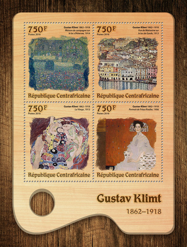 Gustav Klimt - Issue of Central African republic postage stamps