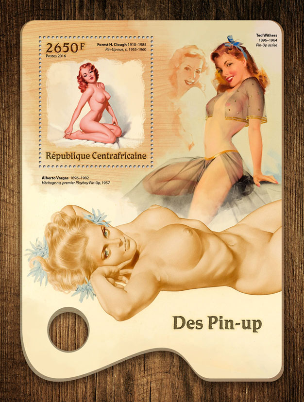 Pin-up art - Issue of Central African republic postage stamps