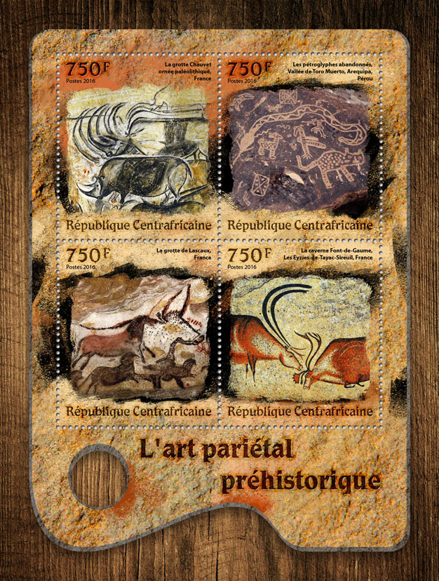Prehistoric cave art - Issue of Central African republic postage stamps