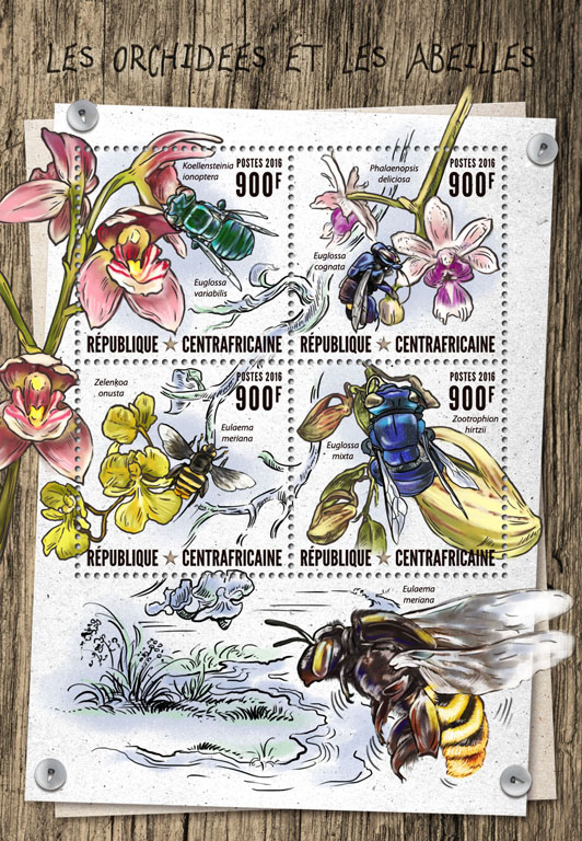 Orchids and bees - Issue of Central African republic postage stamps