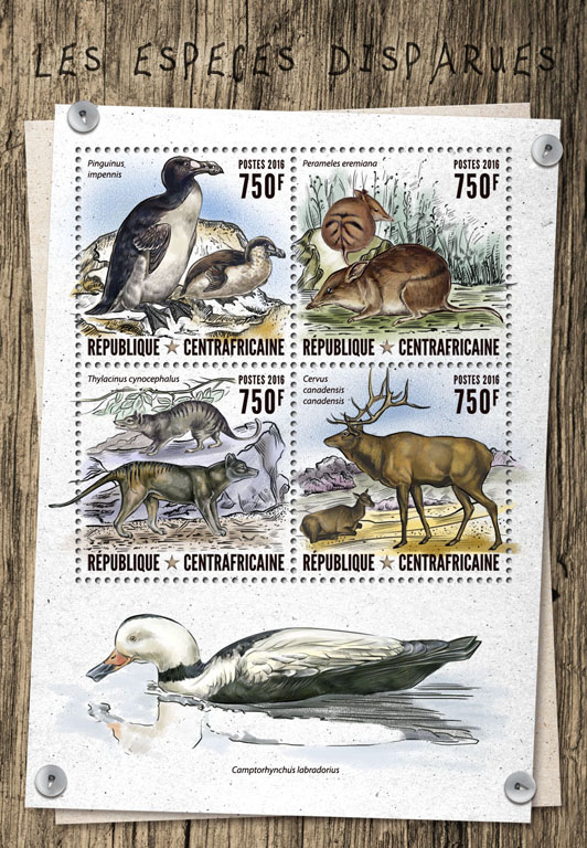 Extinct animals - Issue of Central African republic postage stamps
