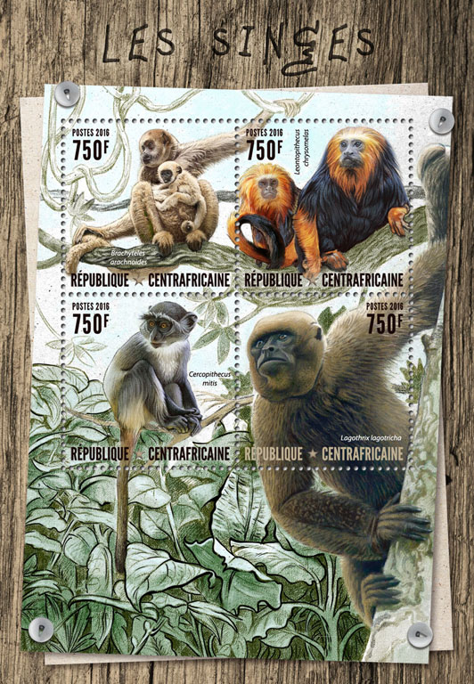 Monkeys - Issue of Central African republic postage stamps
