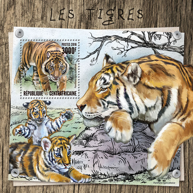 Tigers - Issue of Central African republic postage stamps