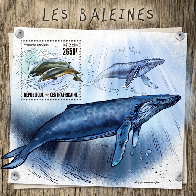 Whales - Issue of Central African republic postage stamps
