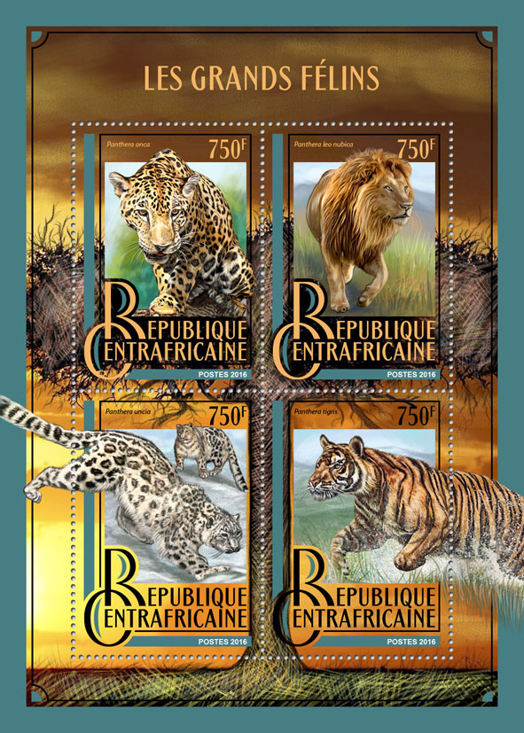 Big cats - Issue of Central African republic postage stamps