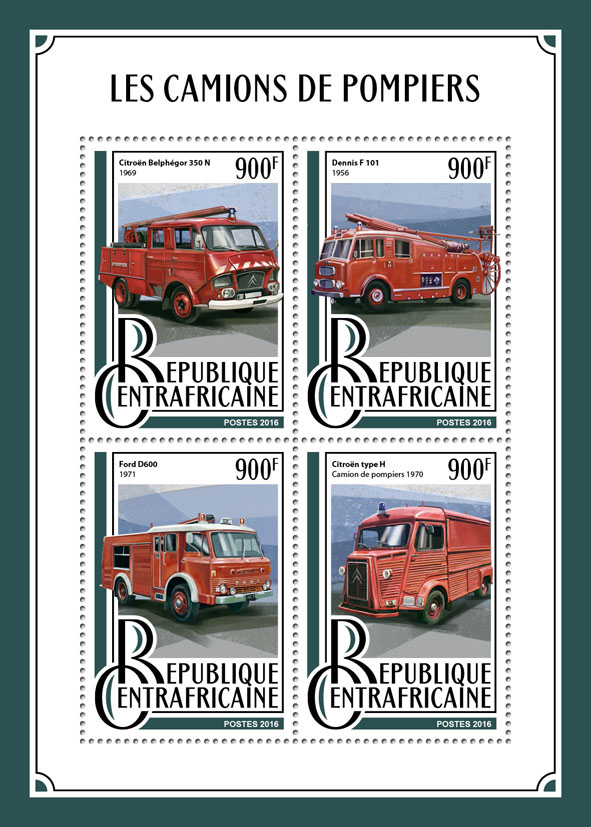 Fire engines - Issue of Central African republic postage stamps