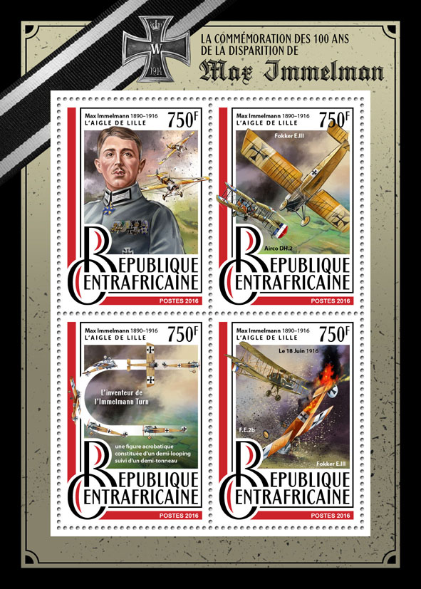 Max Immelmann - Issue of Central African republic postage stamps