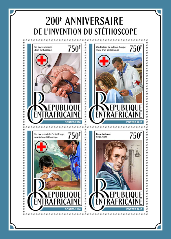 Stethoscope - Issue of Central African republic postage stamps