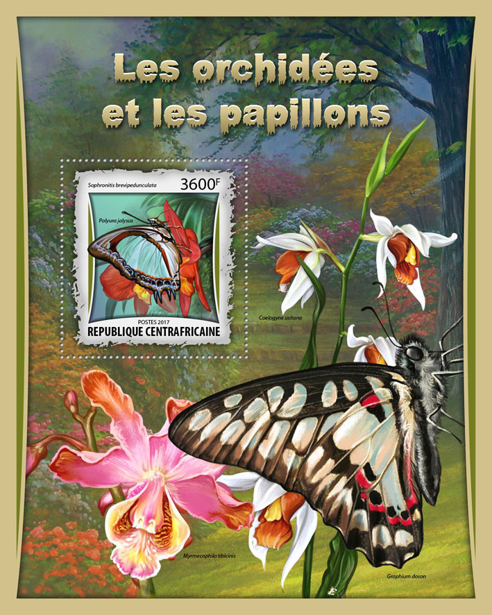 Orchids and butterflies - Issue of Central African republic postage stamps