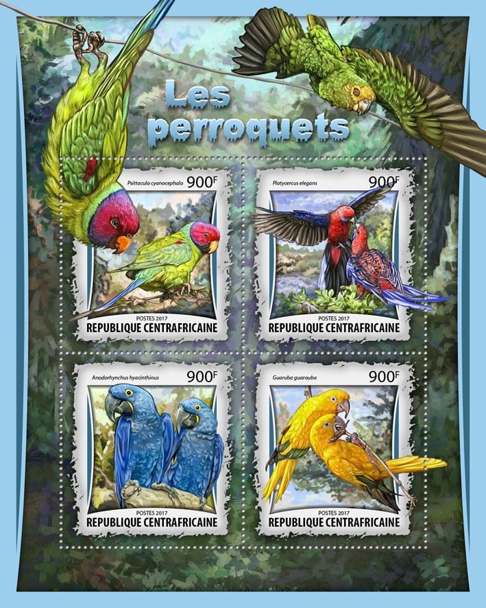 Parrots - Issue of Central African republic postage stamps