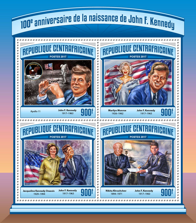 John F. Kennedy - Issue of Central African republic postage stamps