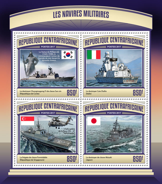 Military ships - Issue of Central African republic postage stamps