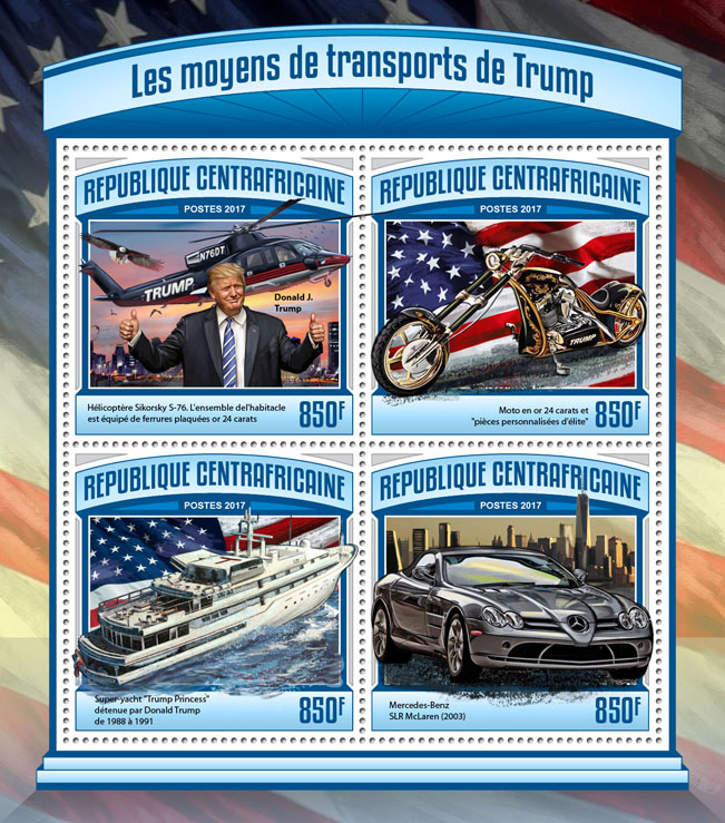 Trump transport - Issue of Central African republic postage stamps