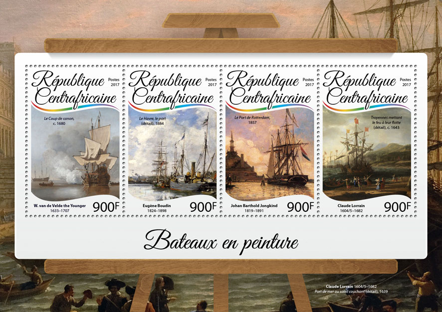 Ships in paintings - Issue of Central African republic postage stamps