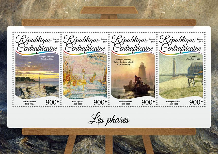 Lighthouses - Issue of Central African republic postage stamps