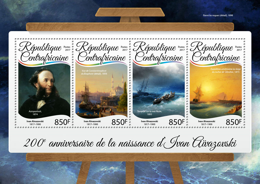 Ivan Aivazovsky - Issue of Central African republic postage stamps